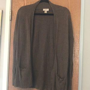 Ann Taylor Loft Brown long sleeve open cardigan